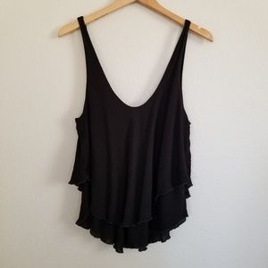 Intimately Free People Black Gauze Tank Top L